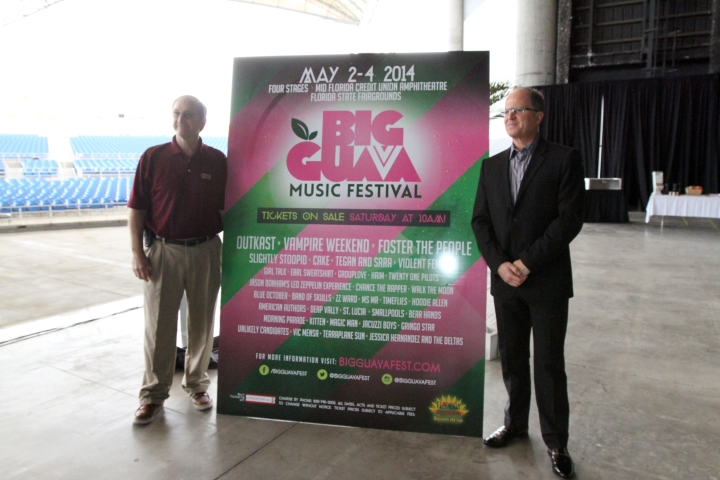 (L-R)  Chuck Pesano, Executive Director Florida State Fair, and Neil Jacobsen, President Live Nation FL, unveil the poster for the Big Guava Music Festival.